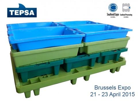 Cajas de plastico para seafood expo