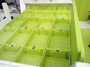 cajas de plastico estibadas rectas en cubierta de cerquero