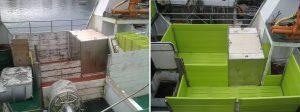 Antes (madera) Después (plástico) en barco cerquero