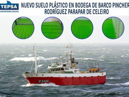 Nuevo suelo de plástico en buque Rodríguez Parapar: galería de fotos.