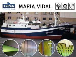El palangrero MARIA VIDAL estrena panas, listones de pared, gambuza y suelo plástico TEPSA