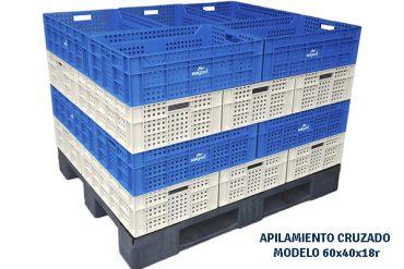 Cajas plasticas para fruta con apilamiento cruzado