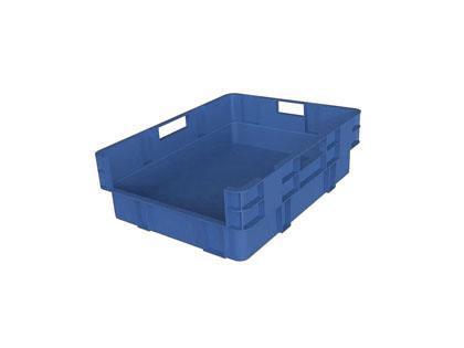 Caja apilable azul con un lado abierto