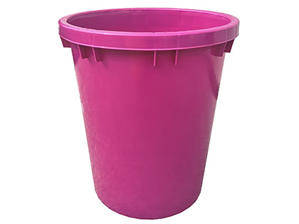 Pink plastic flower bucket