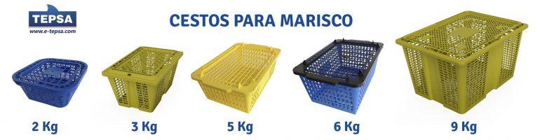 Diferentes modelos de cestos ordenados por tamaño